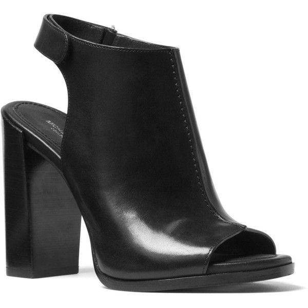 Michael Kors Maeve Leather Open Toe Block Heel Mule Sandals ($415) ❤ liked on Polyvore featuring shoes, sandals, black, black leather mules, mule sandals, open-toe mules, black leather sandals and black mules