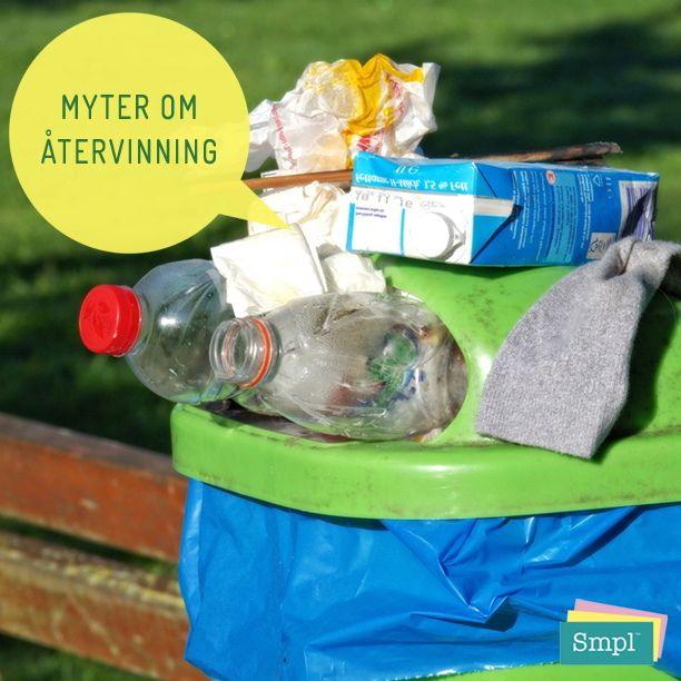 MYT: Mitt bidrag till återvinningen är så litet att det inte spelar någon roll  SANNING: Några exempel på vilken nytta återvinning ger om vi gör det tillsammans: Om vi skulle lämna alla metallkapsyler till återvinning, skulle det gå att tillverka 2 200 nya bilkarosser varje år. Om alla svenska hushåll återvann ytterligare en plastförpackning till i månaden skulle koldioxidutsläppen kunna minska med 3 600 ton, vilket motsvarar utsläppen från cirka 1 200 bensindrivna bilar varje år, eller…