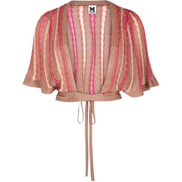M Missoni Bronze Cropped Fine-knit Cardigan - Size 8 (¥41,845) ❤ liked on Polyvore featuring tops, cardigans, jackets, metallic cardigan, metallic crop top, white cardigan, white crop top and flared sleeve crop top