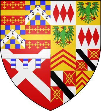 Герб Ричарда Невилла,Гр.Уорика,13й гр.Уорик Ричард Бошан умер в 1439. Сын Генри Бошан наслед.ему.Он служил во Фр.и был другом короля.В 1444 он стал 1-м графом(premier earl) Англ.,а в 1445 герц.Уориком.У него с Сесилией род.дочь,Анна,14.02.1444. 11.07.1446.герц.Генри умер.Маленьк. графиня Анна ст.богатейш.наследн. св.времени.Уильям де Ла Поль, буд.герцог Саффолк,хотел выдать ее за св.собств.наследн.,но она ум.3.06. 1449.Через неделю Ричард Невилл стал графом Уориком.