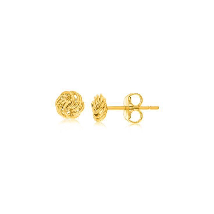 14K Yellow Gold Small Love Knot Motif Stud Earrings