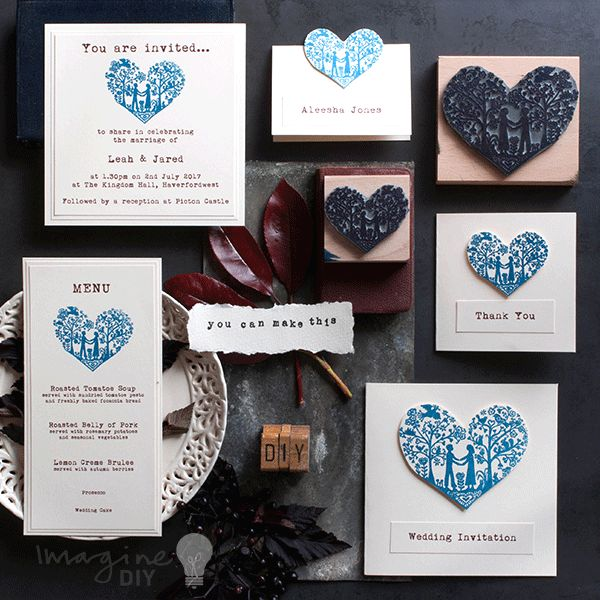you and me heart stamp wedding stationery