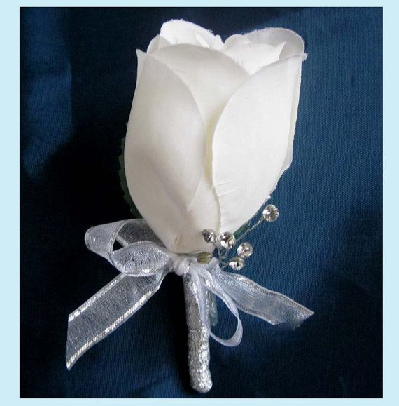Off White Rose Boutonniere With Rhinestones And by stellasjewelry ($42.50 for 5)