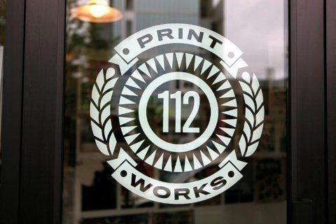 112 Print Works window decal