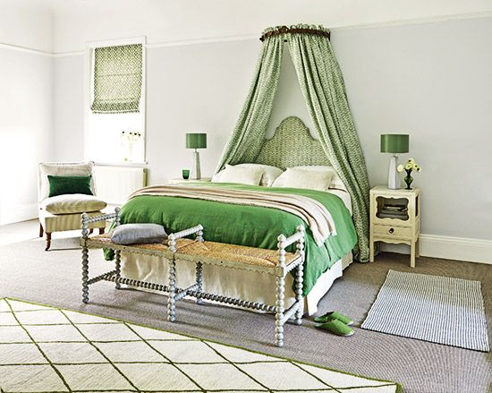 A Palette Of Pea Green And Palest Greys Creams Crisp White Creates Restful Bedroom Scheme