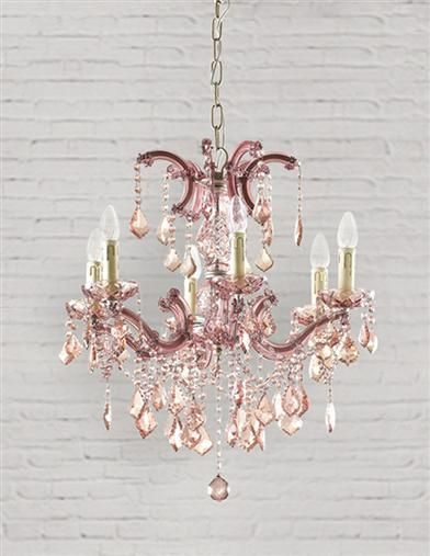 Parisian Petal Pink Chandelier Rose Coloured Glass Casts