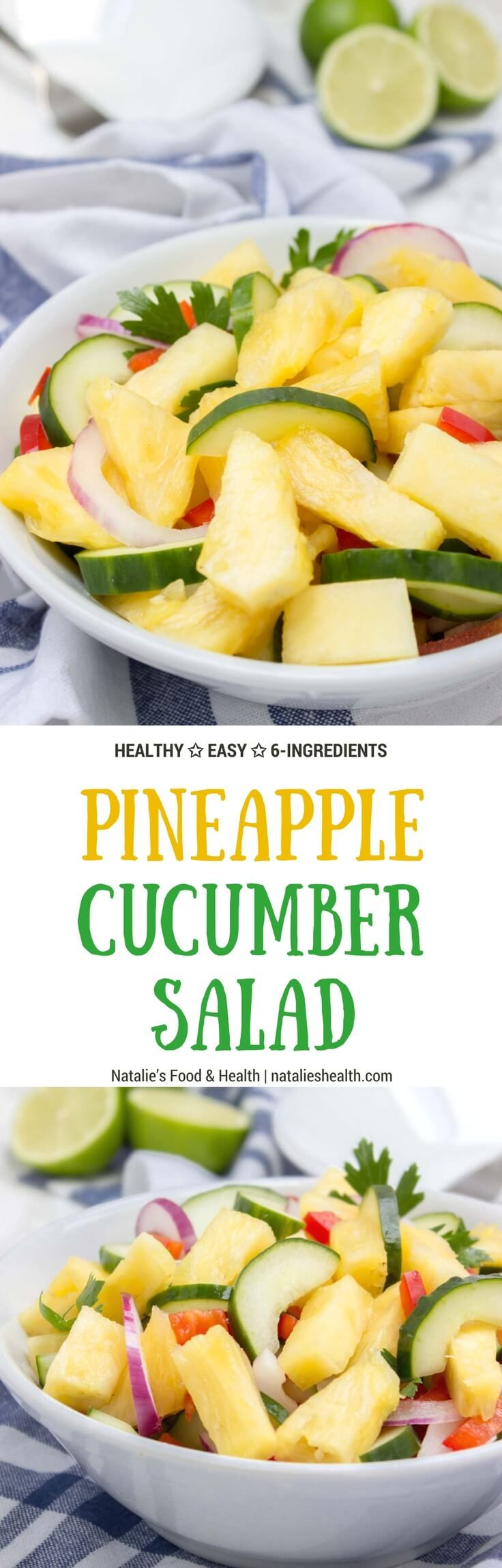Jucy and refreshing Pineapple Cucumber Salad is a…