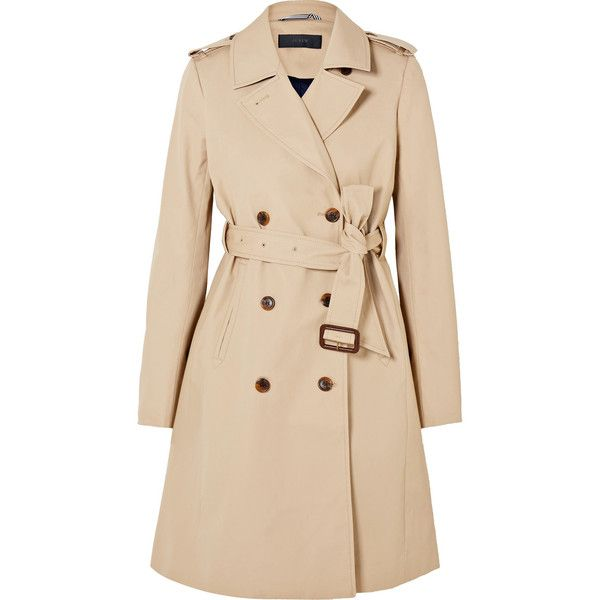J.Crew Dion cotton-gabardine trench coat ($200) ❤ liked on Polyvore featuring outerwear, coats, beige, j crew coats, double breasted coat, double-breasted trench coat, cinch coat and beige trench coat