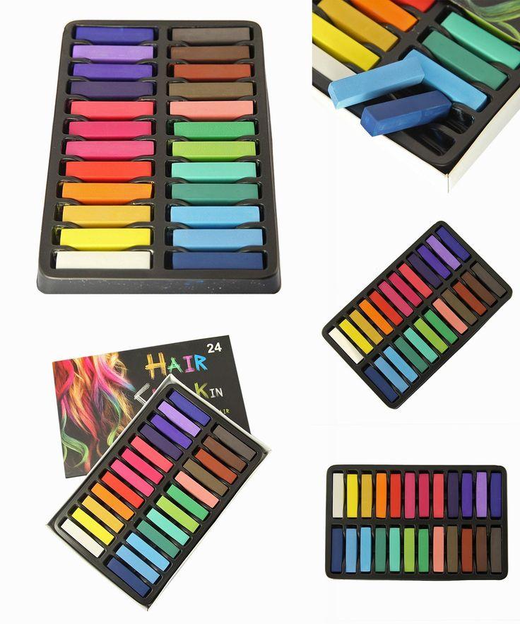 [Visit to Buy] Best Sale Non-Toxic Hair Chalk Temporary Hair Dye Color's Soft Pastels Salon Hair Color Set Kit (24 PCS) #Advertisement
