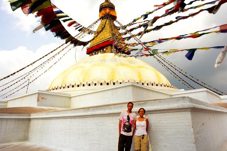 Swayambhunath Pagoda Budista en Katmandú, Nepal. Adri y yo.