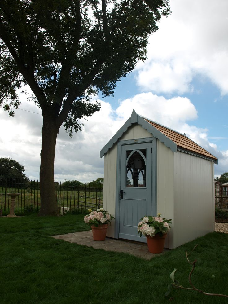7ft x 5ft gothic shed in Whisper Grey and Asteroid - we think this is gorgeous!!!!