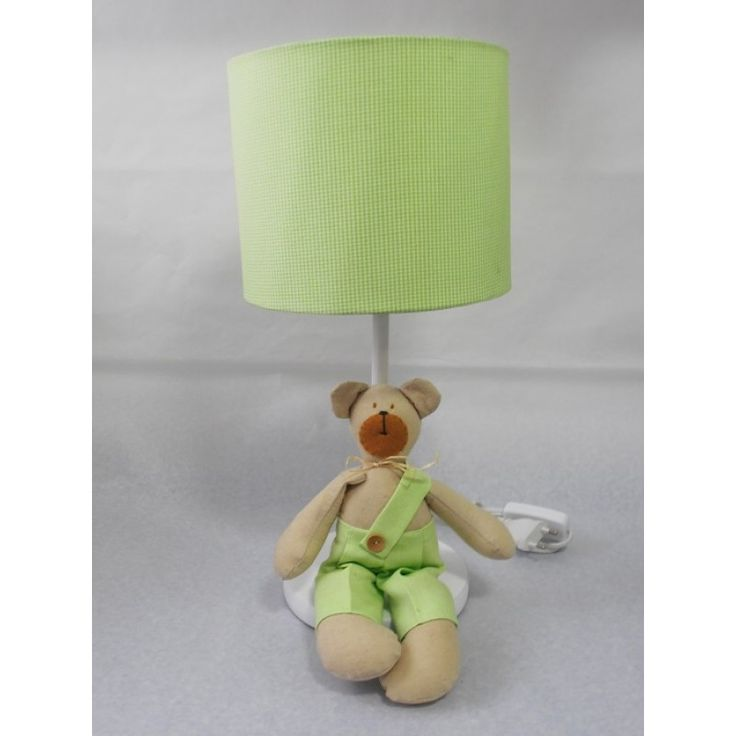 Lámpara oso color verde cuadrille. Encuéntralo en www.conejodetrapo.cl.
