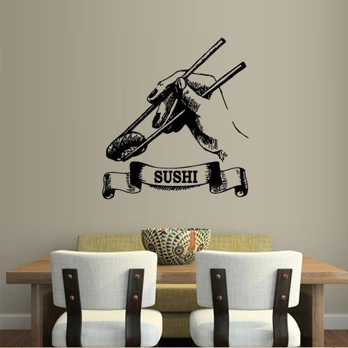 Wall decal art decor decals sticker sushi  rolls sticks food restaurant cafe fingers inscription Japan China (m878) on Etsy, $28.99