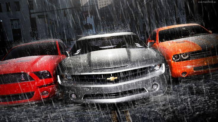 Chevrolet, Camaro, Dodge, Ford, Mustang, Deszcz
