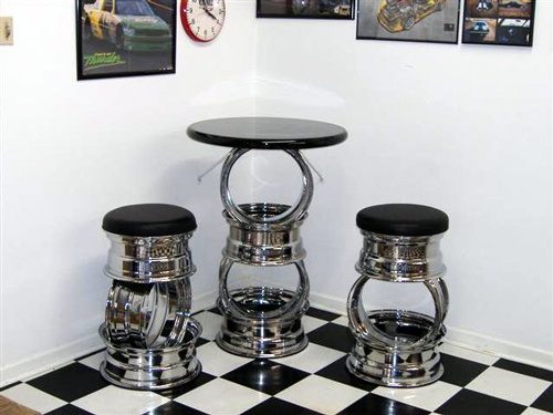 Bar stools and table made from wheel rims