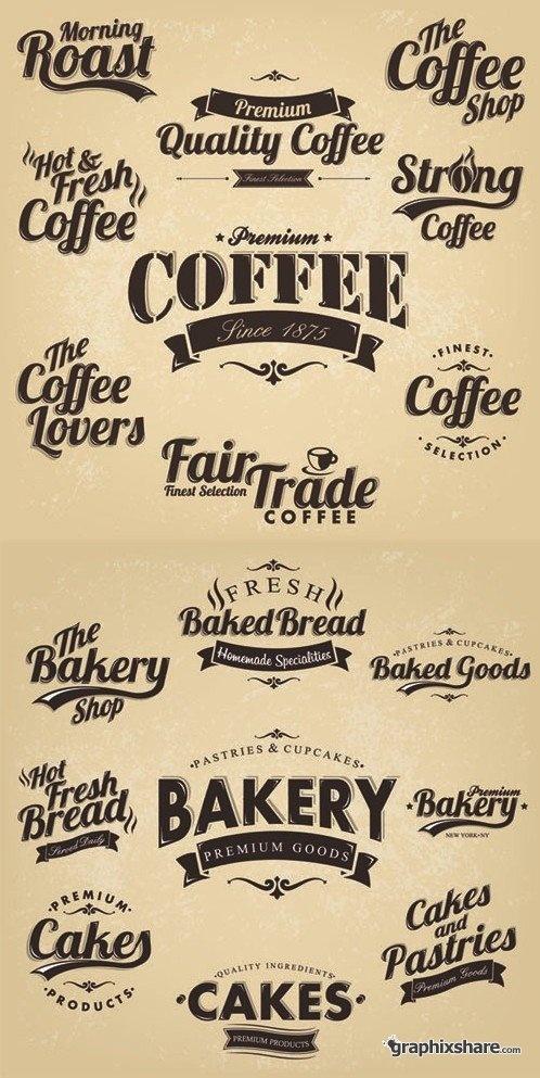 Coffee & Bakery - Vintage Labels