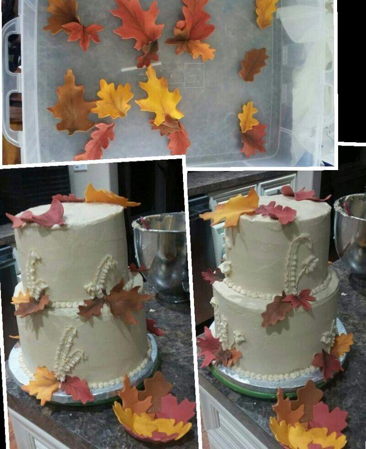 Fall wedding cake, maple cake with maple buttercream, fondant leaf bowl for walnuts