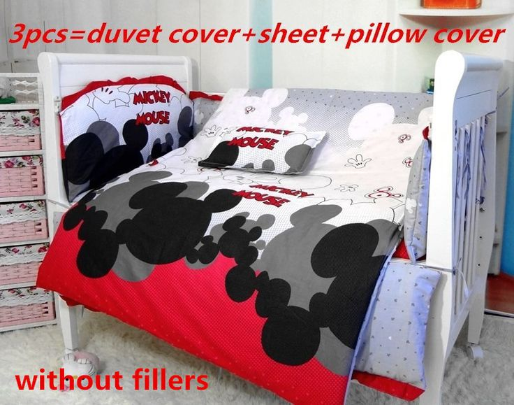 Promotion! 3/6/7PCS Mickey Mouse baby cot sets baby bedding crib set 100% cotton crib bumper ,120*60/120*70cm