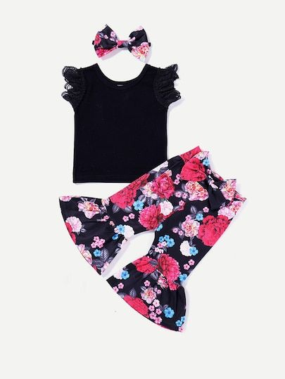 33ad9c374c Toddler Girls Lace Sleeve Top   Pants   Headband  fall  fashion  trends   styles  shein  kidsfashion  kidscloths  kidsgirlcloths kids clothes for  girls