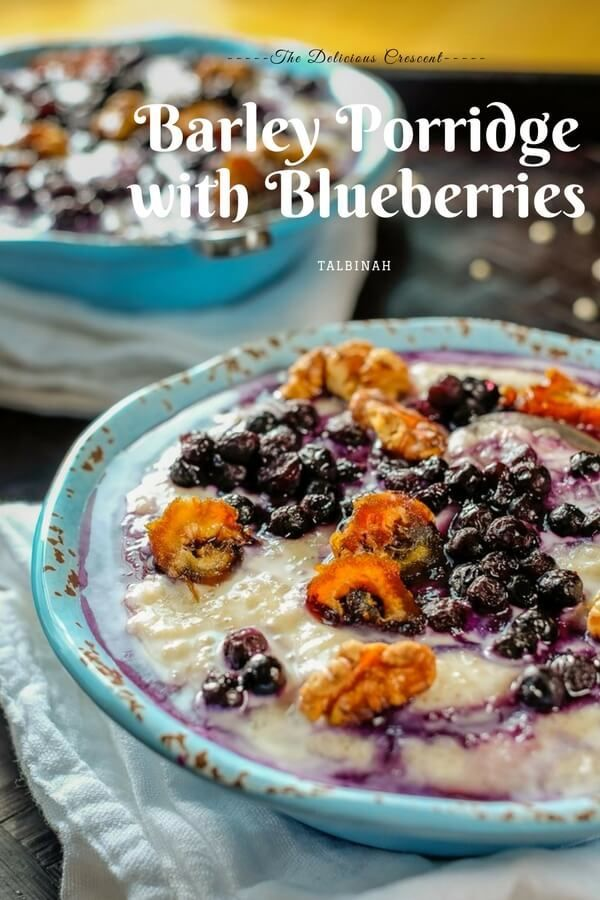 Barley porridge with blueberries is a tasty and wholesome breakfast topped with nutrient rich berries, walnuts, dates and a drizzle of honey. This is sure to give you a healthy and happy start to take on the challenges of the day!!  #porridge #barley #breakfast #blueberries #brunch #barleyporridge #walnuts #dates #easyrecipes #vegetarian    via @TDCrescent
