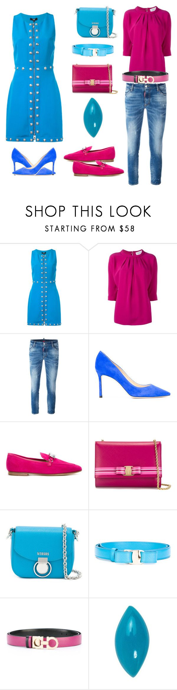 """""""Sky is blue...."""" by jamuna-kaalla ❤ liked on Polyvore featuring Versus, Gianluca Capannolo, Dsquared2, Jimmy Choo, Giuseppe Zanotti, Salvatore Ferragamo, Loquet and vintage"""