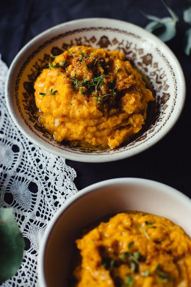 Pompoenpuree met geroosterde knoflook | gezond recept | vegan