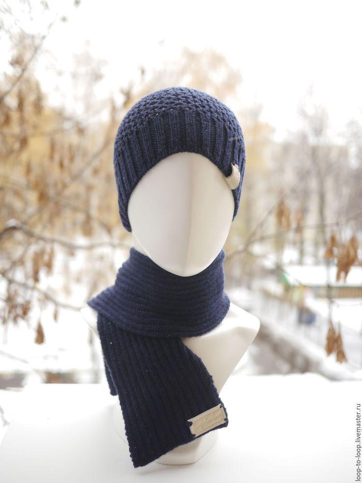 Купить Вязаный мужской комплект. Мужской шарф, шапка, вязаные перчатки. - однотонный, тёмно-синий