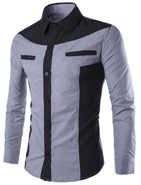 Modish Double Zipper Color Splicing Slimming Shirt Collar Long Sleeves Shirt For Men