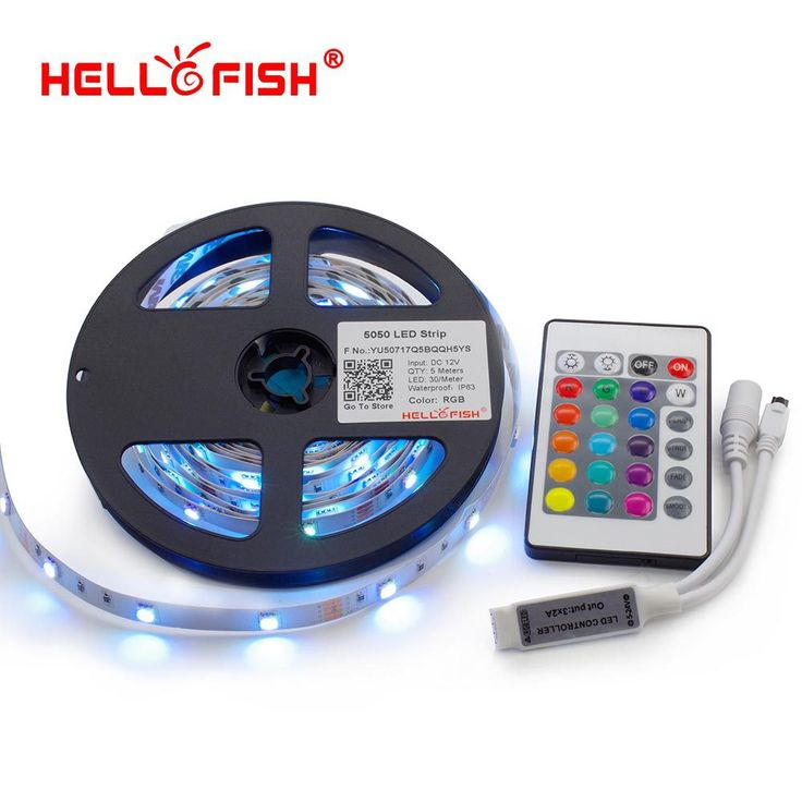 Hello fish 5 m 5050 rgb led strip, 150led/m dipimpin pita + 24 kunci remote controller kit, free shipping