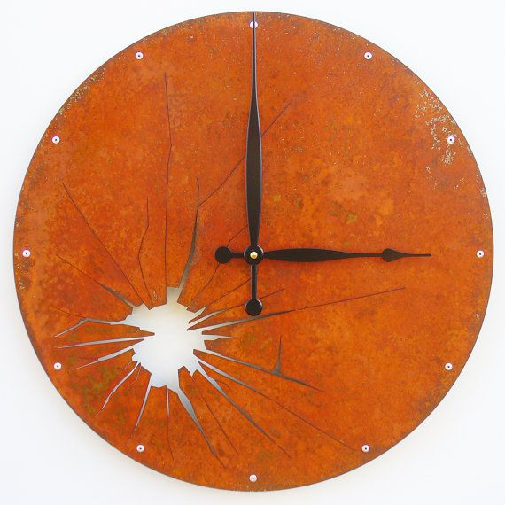 large wall clocks amazon seiko online buy great gift brother shattered metal clock extra rusted super rustic living room decor
