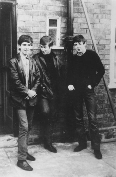 1960. The three core members of The Beatles, George Harrison, Paul McCartney and John Lennon, standing outside McCartney's home on Forthlin Road in Liverpool. Ringo Starr wouldn't join them for another couple of years. #Beatles #1960 #Liverpool