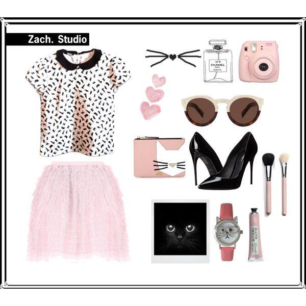 A fashion look from June 2016 by haryela featuring RED Valentino, Dolce&Gabbana, Karl Lagerfeld, Olivia Pratt, Illesteva, Shabby Chic e Polaroid