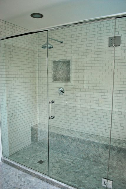 Dual shower heads and herringbone floor love it for Small bathroom herringbone tile