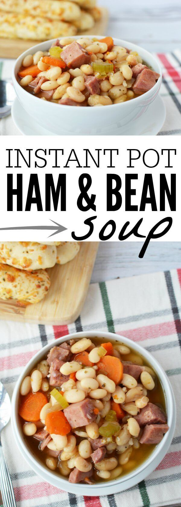 You will love how simple this delicious Instant Pot ham and bean soup recipe is! It's hearty and filling. Perfect for a cold day! Give this a try.