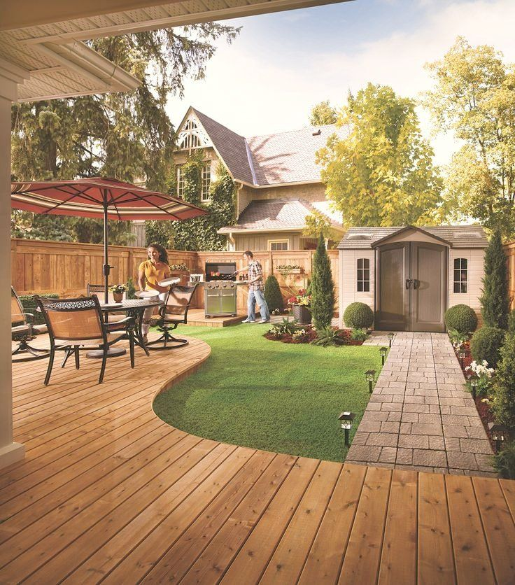 A patio and walkway add some style to the backyard love the deck
