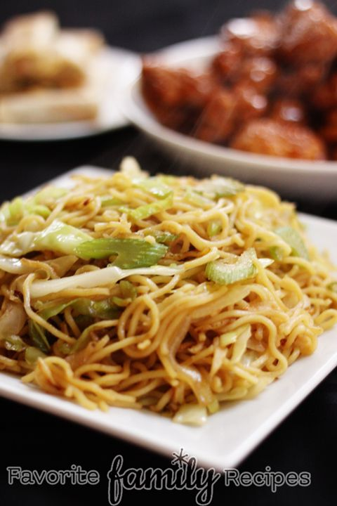 Panda Express Chow Mein- 1/4 c. soy sauce,  1 T. brown sugar,  2 cloves garlic,  1 tsp. fresh ginger,  black pepper to taste,  2-3 T. vegetable oil,  3 (5.6 oz) pkg refrigerated Yaki Soba noodles (found in the produce section of the grocery store.. usually the 3 packages are sold together in one 17oz. pack)  2/3 c. celery,  1 medium onion,  2 c. cabbage.