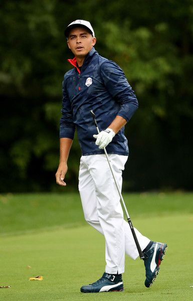 Rickie Fowler Photos Photos - Rickie Fowler of the United States plays a shot during practice prior to the 2016 Ryder Cup at Hazeltine National Golf Club on September 28, 2016 in Chaska, Minnesota. - 2016 Ryder Cup - Previews