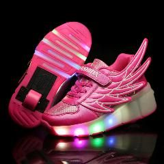 [ 37% OFF ] Glowing Children Roller Shoes With Wheels Kids Led Light Up Wing Shoes Sneakers For Boys Girls Sneaker Pink Black Tenis Infantil