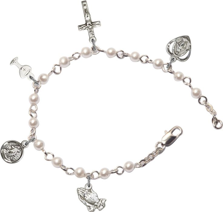 Religious Charm Bracelet: Girls Silver-Plated First Holy Communion Religious Charm