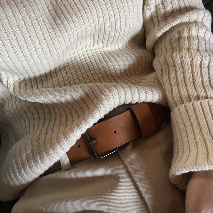 khaki pants, brown leather belt, chunky ribber white sweater