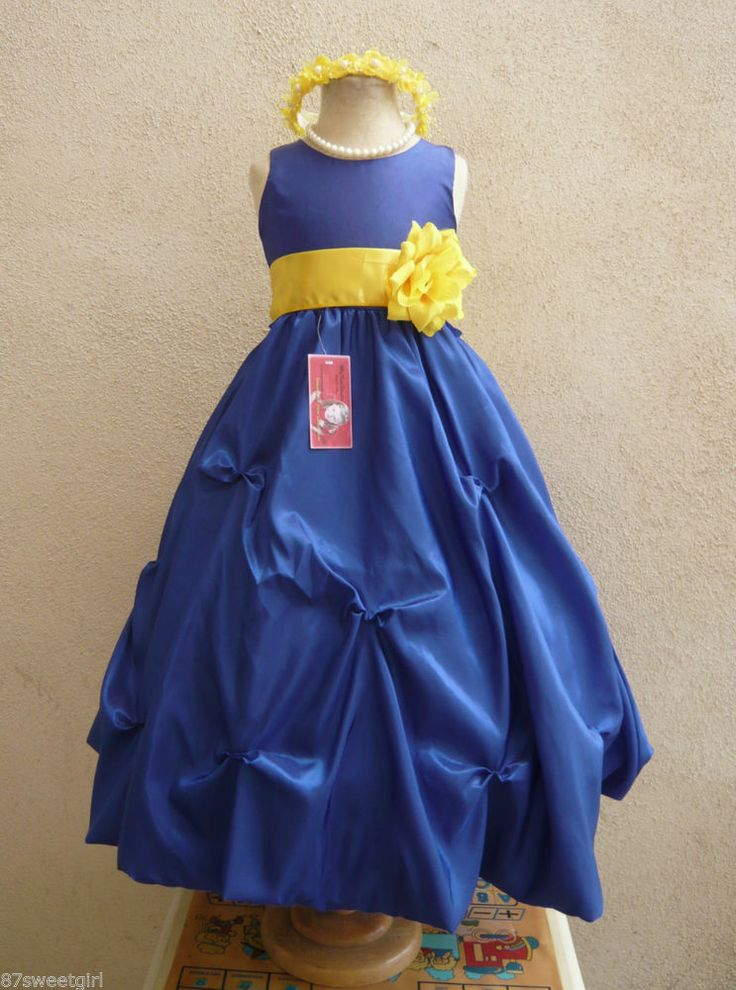 Royal blue and yellow dress.