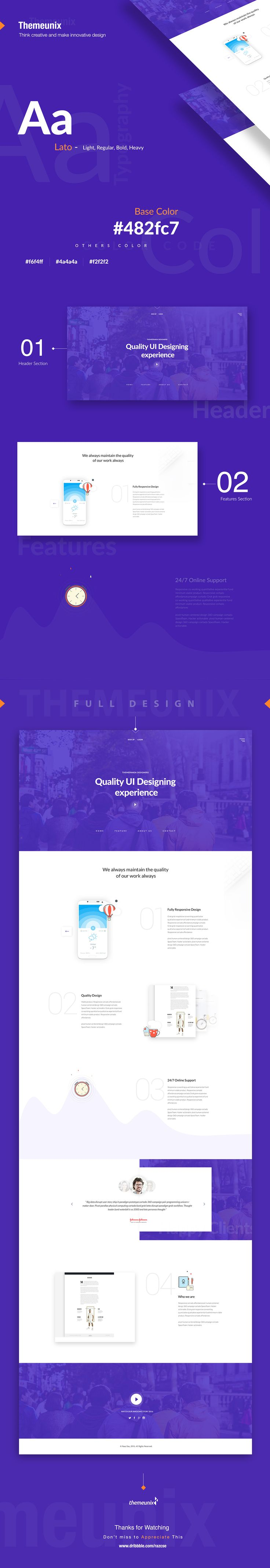 Themeunix: Web Landing page Design on Behance