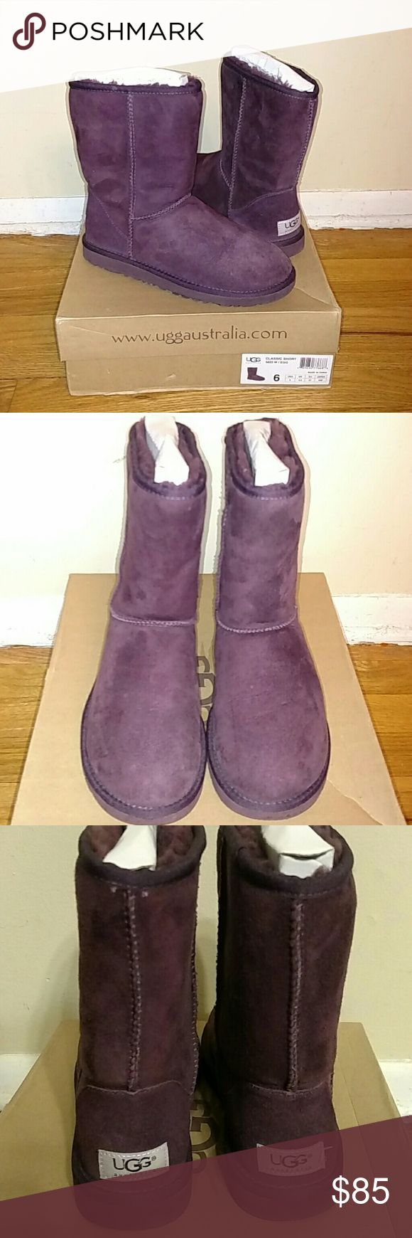 Ugg Classic Short Boots Color Eggplant, Authentic in good condition UGG Shoes Winter & Rain Boots