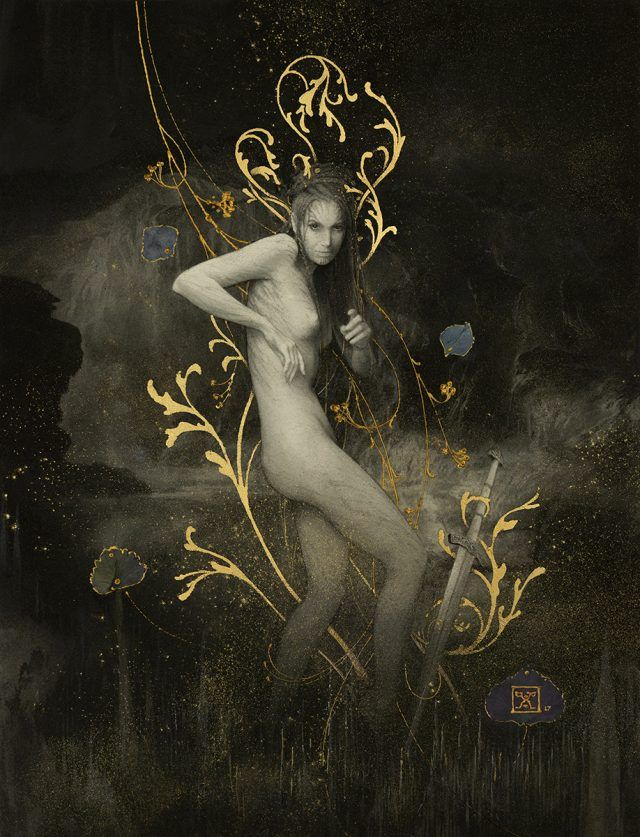 'Grendel's mother' by Yoann Lossel graphite, gold & silver leaf #drawing #art