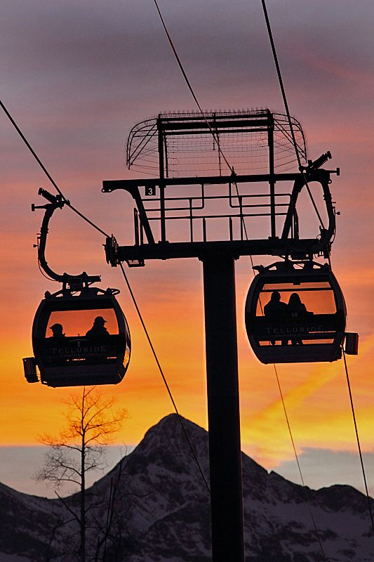 "~~Telluride, Colorado gondola at sunset! The only free gondola system in the U.S. The gondola links Telluride and Mountain Village and serves both as a lift for skiers and snowboarders and as public transportation for locals and visitors. The incredible 13-minute ride has 365 degree views of the San Juan Mountains and is often referred to by locals as ""the best commute in the country"". 