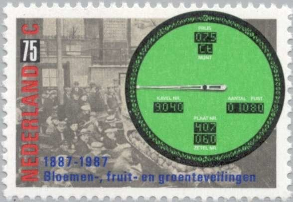 Stamp: Auction and a modern auction clock (Netherlands) (Sale by auction, 100 and Groningen Agricultural Society 150) Mi:NL 1322,Sn:NL 719,Yt:NL 1291,AFA:NL 1323,NVP:NL 1380