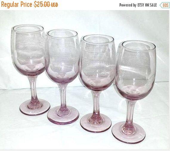 Vintage Pink Depression Wine Glass,Set of 4, Pink Glass,Pink Glass Goblets,Pink Glasses,Pink Stemware,Shabby,Rose,Pink Wine Glass,Valentines by JunkYardBlonde on Etsy