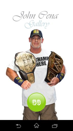 John Cena Gallery app consists of John Cena offline images.Features.* Offline gallery images. * Zoom and pinch option *Save images to SDcard *Perform animated slideshow feature *Added Bio-graphy features.Keywords : John Cena ,john cena,wwe ,hollwood,cena , John Cena Gallery, John Cena photo , John Cena stills ,John Cena biography , John Cena fans, super star,John Cena wallpaper,hd wallpaper,Actor,Actor Gallery,wwe gallery  http://Mobogenie.com