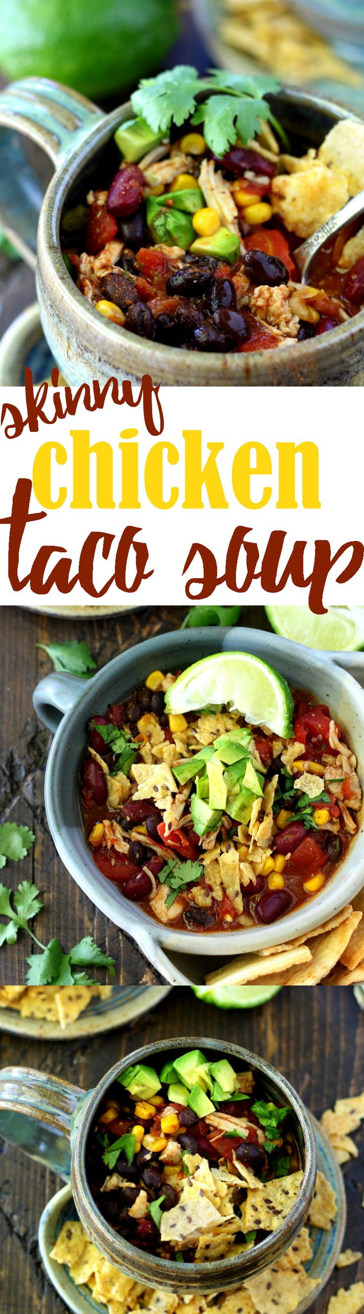 This recipe for 1-pot Skinny Chicken Taco Soup has got to be the easiest, quickest, most flavorful way to cook up a hearty Tex-Mex inspired bowl of deliciousness!