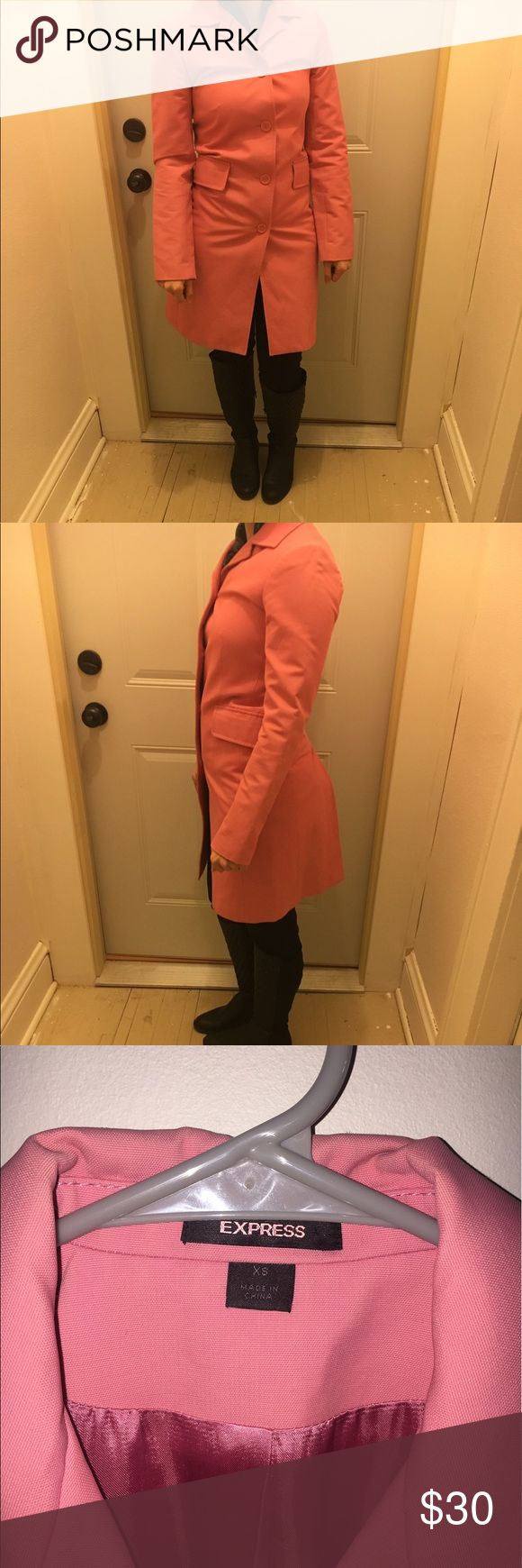 Pink express coat! I love this coat! It's great in the rain! Just a tad small on me- as shown in pics, size xs, good condition. Express Jackets & Coats